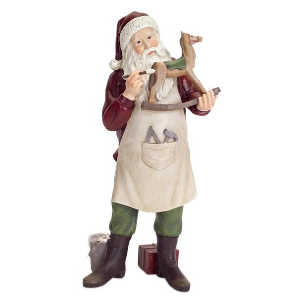 """Pack of 3 Traditional Santa Claus with Rocking Horse Christmas Table Top Decorations 12"""""""