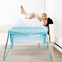 Costway Foldable Alumnium Baby Crib Bed Toddler Sleeper Nursery Mosquito Net Carry Bag - Blue