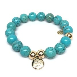 Turquoise Magnesite Om Charm stretch bracelet 14k over Sterling Silver