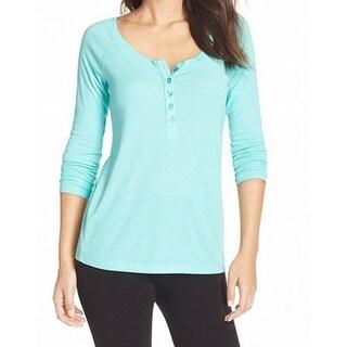 Nordstrom NEW Blue Teal Women's Size Small S Henley Sleepshirt