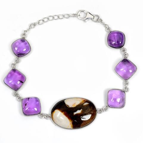 Jasper, Amethyst Sterling Silver Oval Chain Bracelet by Orchid Jewelry