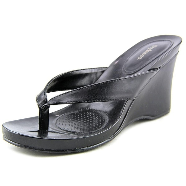 e5dc6411bb254 Shop Style   Co Chicklet Women Open Toe Synthetic Black Wedge Sandal ...