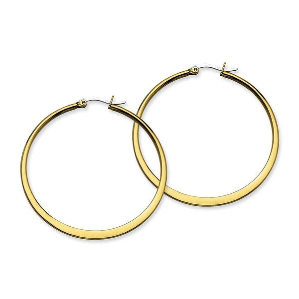 Stainless Steel Gold-plated Tapered 50mm Hoop Earrings