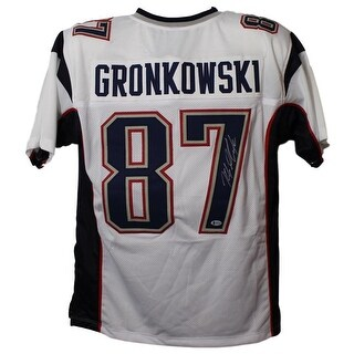 Rob Gronkowski Autographed New England Patriots White XL Jersey BAS