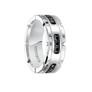 KENZO White Tungsten Ring with Silver Inlay & Black Diamonds by Triton Rings - 8mm