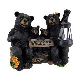 Beaming Bears Welcome Statue w/Solar LED Lantern - Black