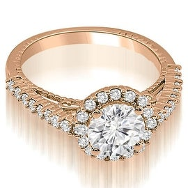 1.20 cttw. 14K Rose Gold Antique Style Halo Round Cut Diamond Engagement Ring