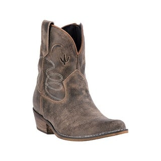 Dingo Western Boots Womens Leather Fabric Lining Taupe DI 696