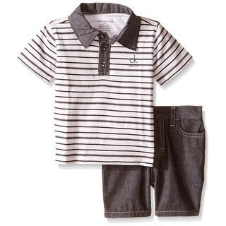 Calvin Klein Kids Boys 4-7 Stripe Polo & Jean Short Set