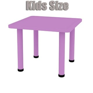 2xhome - Purple - Kids Table - Height Adjustable 18.25 inches to 19.25 inches Square Plastic Activity Table Metal Legs for Play