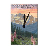 Rocky Mt Park, CO - Bear with Flowers - LP Artwork (Acrylic Wall Clock) - acrylic wall clock
