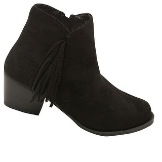 Bella Marie Adult Black Side Zipper Fringe Adorned Ankle Boots