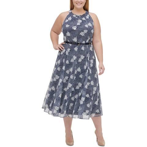 Tommy Hilfiger Womens Plus Midi Dress Floral Print Halter - Indigo Blue