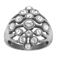 Van Kempen Art Deco Cluster Ring with Swarovski Elements Crystals in Sterling Silver - White