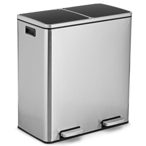 Gymax 16 Gallon Dual Step Trash Can Recycling Stainless Steel Double Bucket Pedal Bin