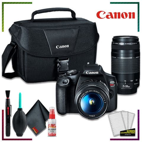 EOS Rebel T7 with EF-S 18-55mm - 75-300mm Lens - Bag - Cleaning Kit