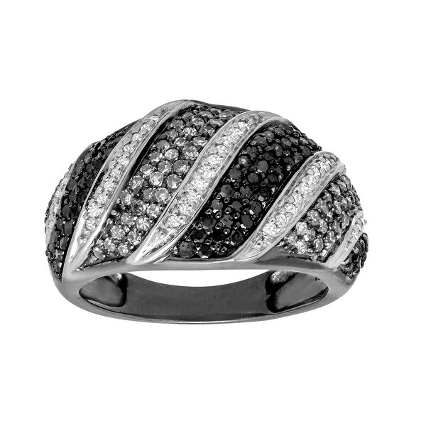 1 ct Black and White Diamond Ring in Black Rhodium-Plated White Gold