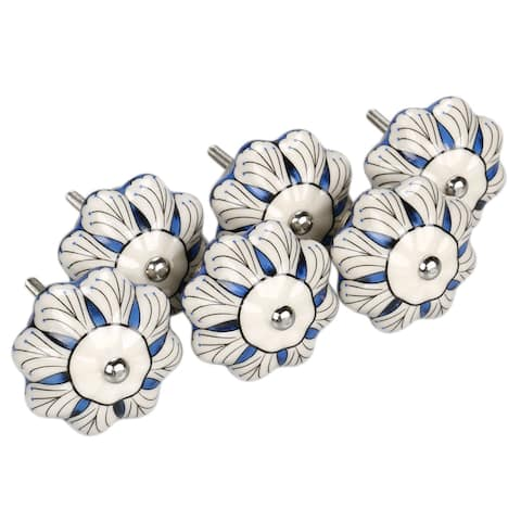 6 x Hand Painted Ceramic Door Knobs Cabinet Drawer Wardrobe Cupboard Pull Handles