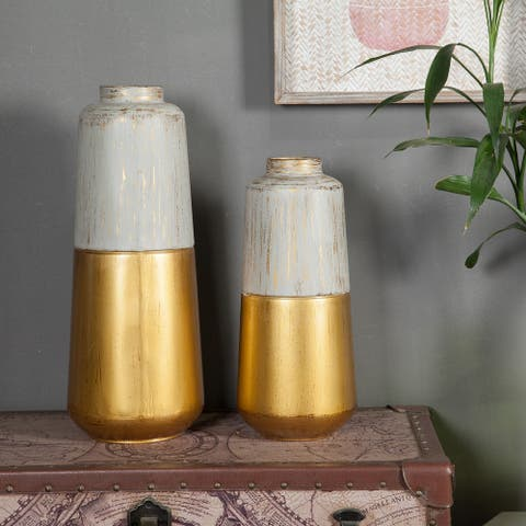 2pc Gold and Multi-color Metal Flower Vase