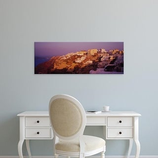 Easy Art Prints Panoramic Images's 'Town on a cliff, Santorini, Greece' Premium Canvas Art