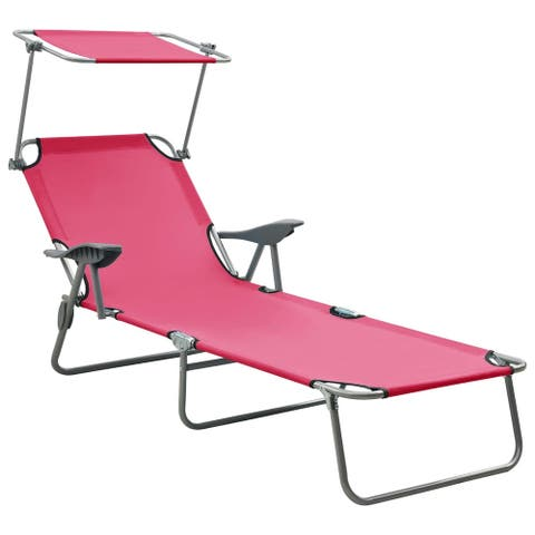 vidaXL Sun Lounger with Canopy Steel Pink