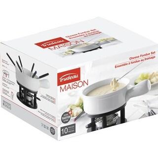 Classico Cheese Fondue Set-White & Black