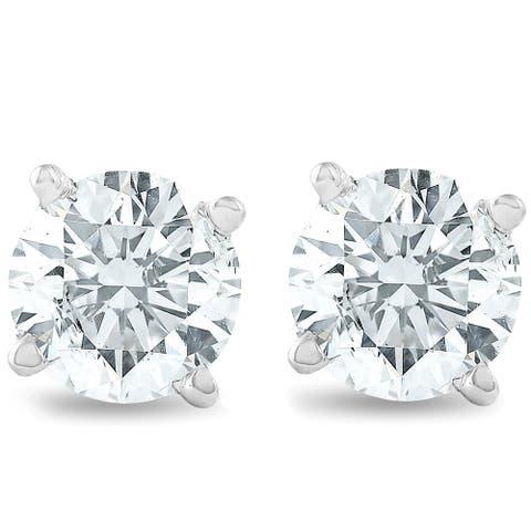 1 1/4 cttw Diamond Studs 14K White Gold IGI Certified Earrings