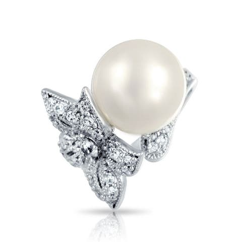 Bridal Flower Pave CZ Cocktail Ring For Women Imitation Pearl 12mm Rhodium Plated