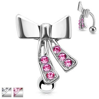 Top Down CZ Ribbon 316L Surgical Steel Navel Ring