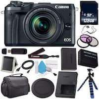 Canon EOS M6 Mirrorless Digital Camera with 18-150mm Lens (Black) 1724C021 (Iternational Model) + 128GB SDXC Memory Card Bundle