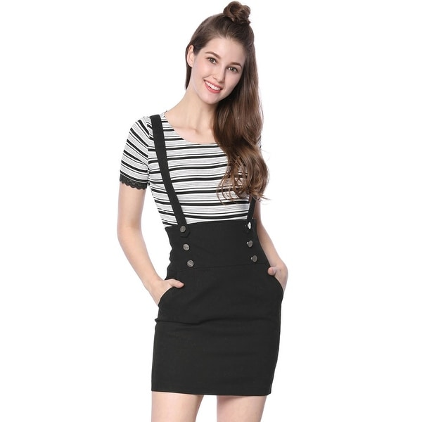 386da796fd7 Shop Women Button High Waist Straight Braces Suspender Skirt - On ...