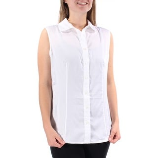 Womens White Sleeveless Collared Button Up Top Size Size 0