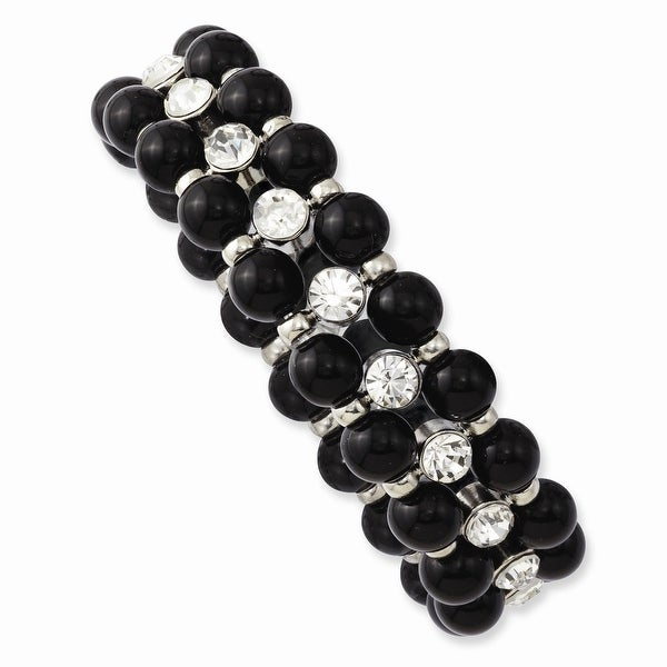 Silvertone Black Beads & Clear Glass Stones Stretch Bracelet