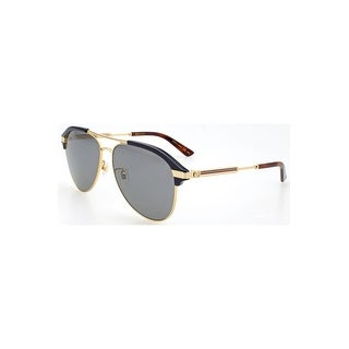 Gucci Grey-Silver Aviator Sunglasses Gg0288Sa-005 60 - blue-gold-silver - One size