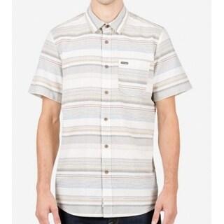 Volcom NEW Light Beige Mens Size Medium M Button Down Striped Shirt