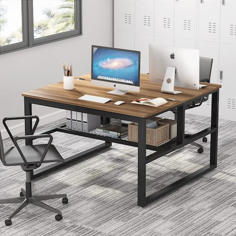 47 x 47inch Large Two Person Computer Desk with Open Storage Shelves, Office Writing Study Desk