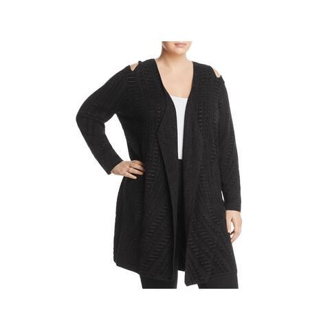 Nic + Zoe Womens Plus Winter Reign Cardigan Sweater Cold Shoulder Metallic