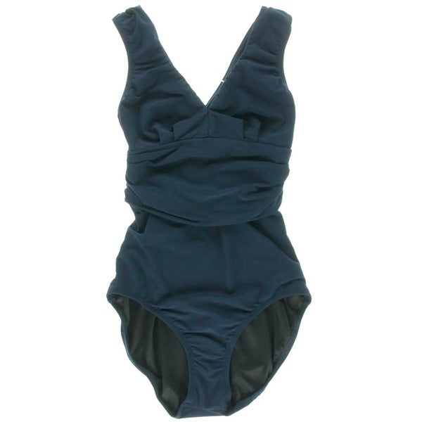 Lisa Curran Swim Womens Ruched V-Neck One-Piece Swimsuit - 4