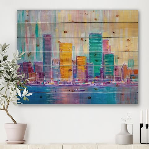 Designart 'Cityscape Of Skyscrapers In Modern City VII' Modern Print on Natural Pine Wood