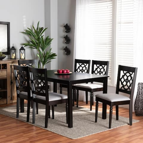 Renaud Grey Fabric and Dark Brown Finished Wood 7-Piece Dining Set