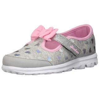 Skechers Kids Baby Girl's Go Walk - Bitty Heart 81162N (Infant/Toddler/Little Kid) Gray/Pink 6 M Us Toddler