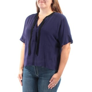 GUESS $69 Womens New 1205 Navy Tie Neck Short Sleeve Wear To Work Top XL B+B