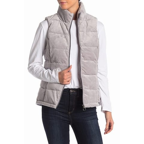 Gerry Gray Womens Size Medium M Quilted Puffer Fleece Vest Jacket
