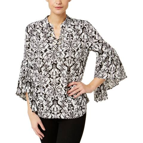 NY Collection Womens Tunic Top Pleated Cuff Embellished