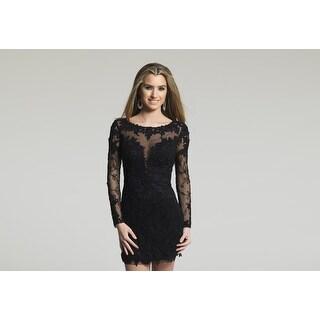 Sheer Long-Sleeved Beaded Lace