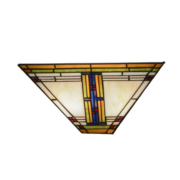 """Meyda Tiffany 144967 Nevada 2 Light 14.5"""" Wide Hand-Crafted Wall Sconce with Stained Glass - multi colored"""