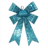 7 in. Turquoise Blue Sequin And Glitter Bow Christmas Ornament