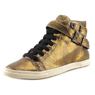 Schutz Craquele Women Leather Gold Fashion Sneakers