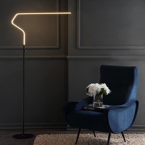 "Julian 65.25"" Integrated LED Metal Floor Lamp, Black by JONATHAN Y - 65.25"" H x 33.5"" W x 9.75"" D"