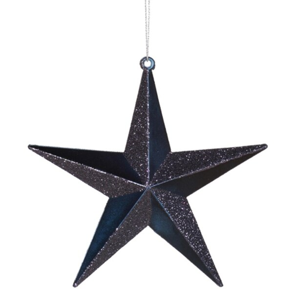 "6"" Classical Sea Blue Matte with Alternating Glitter Christmas Star Ornament"